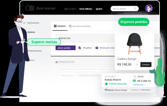 Software de vendas do representante comercial