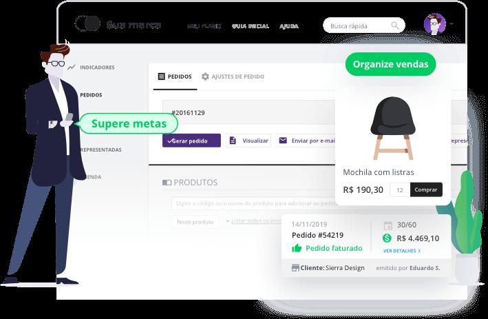 A plataforma do vendedor de indústrias e distribuidoras